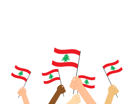 Vector illustration hands holding Lebanon flags on white background 写真素材 - 115863100