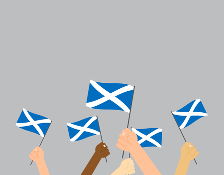 Vector illustration hands holding Scotland flags on gray background Иллюстрация