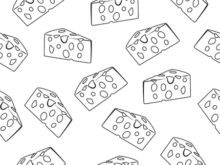 Seamless pattern of doodle cheese slice on a white background