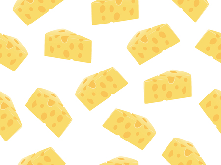 Seamless pattern of cheese slice on a white background Иллюстрация