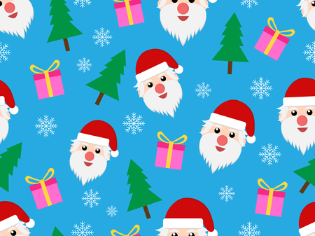 Christmas seamless pattern with Santa Claus and gift on blue background - Vector illustration