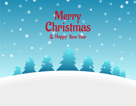 Christmas Background with Tree and Snowfall - Vector Illustration