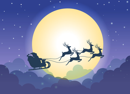 Santa Claus flying on a sleigh with reindeers over cloud and  full moon background - Christmas card