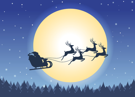 Santa Claus flying on a sleigh with reindeers night sky over full moon background - Christmas card