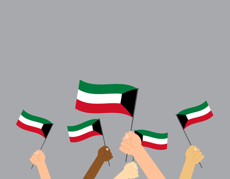 Vector illustration hands holding Kuwait flags isolated on grey background