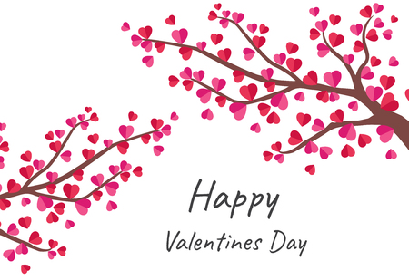 Happy Valentine's Day greeting card with tree of love  - Vector illustration Ilustrace