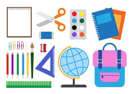 Vector illustration of school supplies set isolated on white background Illustration