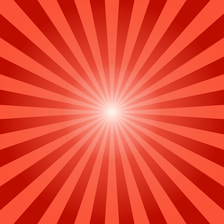 Abstract sunbeams red rays background - Vector illustration