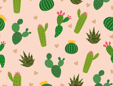 Seamless pattern of many cactus with mini heart on background - Vector illustration
