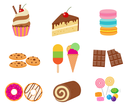Collection of sweet dessert vector set isolated on white background