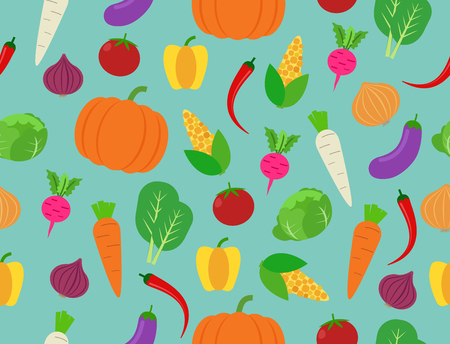 Seamless pattern of fresh vegetables on background - Vector illustration