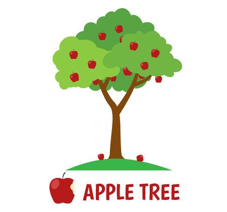 Vector Illustration of apple tree  isolated on white background Illustration