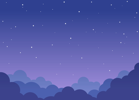 Night cloudy sky background with shining stars Illustration