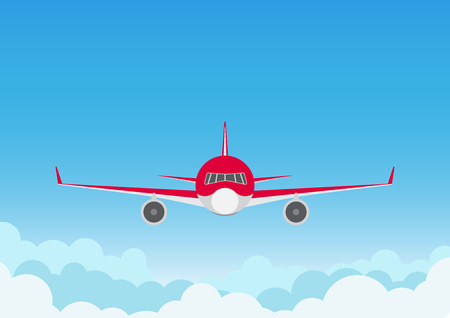 Vector illustration of airplane on blue sky background