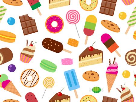Seamless pattern of sweet dessert on white background - Vector illustration