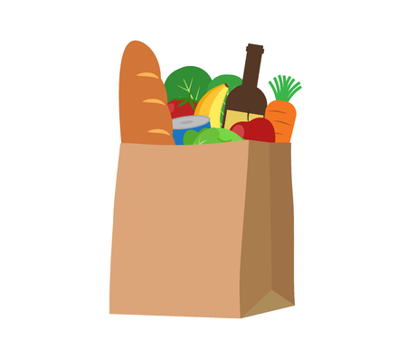 Fresh food and beverage products in a paper bag - Vector illustration
