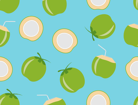 Vector illustration of coconuts seamless pattern on blue background Illusztráció