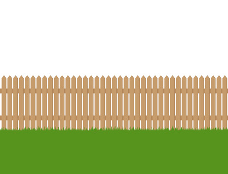 Seamless of wooden fence and green grass isolated on white background Banque d'images - 122421198