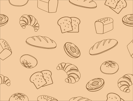 Seamless pattern of hand drawn line art bakery background - vector illustration