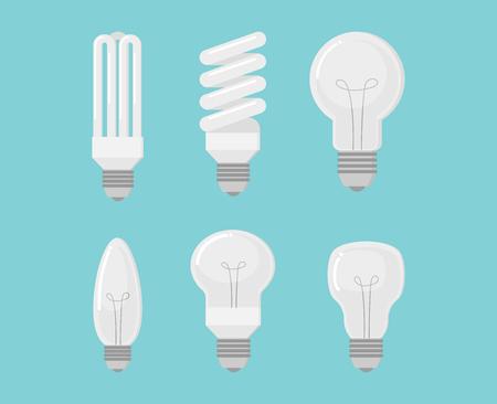 Collection de vecteur d'ampoule électrique sur fond bleu - illustration vectorielle