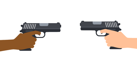Vector illustration of hands hold and pointing two guns on white background Illusztráció