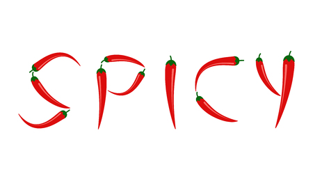 Vector illustration of red chili peppers in SPICY text isolated on white background Illustration