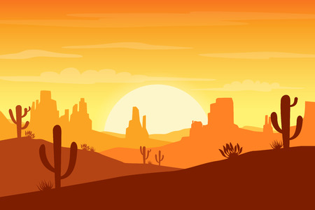 Desert landscape at sunset with cactus and hills silhouettes background - Vector illustration