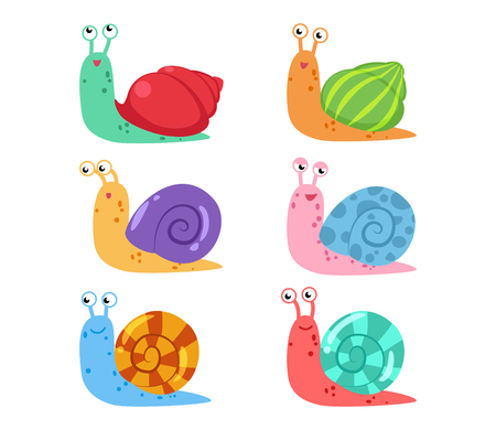 Cute cartoon snail vector set with different shells on white background Stock Illustratie