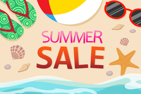 Top view of summer sale banner template decoration with objects on beach