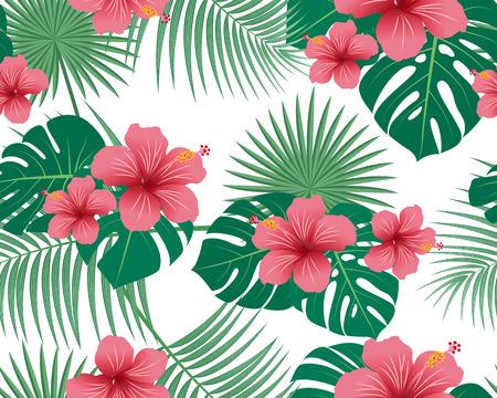 Modèle sans couture de fleurs tropicales et feuilles sur fond blanc - illustration vectorielle