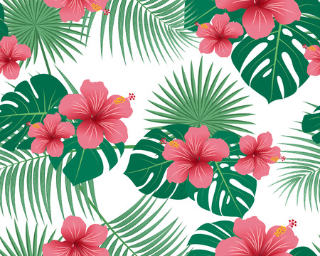 Seamless pattern of tropical floral and leaves on white background - Vector illustration