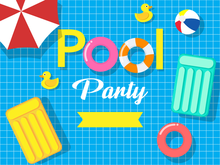 Pool party invitation card template on swimming pool background - Vector illustration