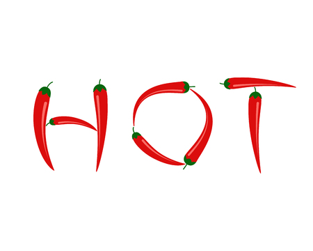 Vector illustration of red chili peppers in HOT text isolated on white background