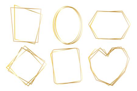Collection of golden polygonal luxury frames vector set Vector Illustration