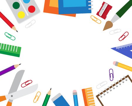 Vector illustration of frame with stationery items on the white background. Illusztráció