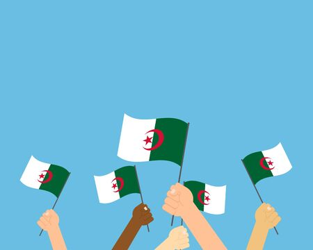 Vector illustration of hands holding Algeria flags isolated on blue background