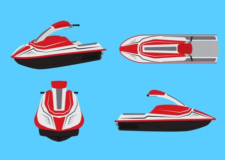 Vector illustration of jet ski vector set isolated on blue background.