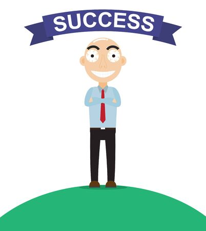 Happy businessman look like so proud about work success  - Vector illustration Illustration