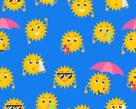 Modèle sans couture de mascotte de soleil de dessin animé dans une pose différente sur fond bleu