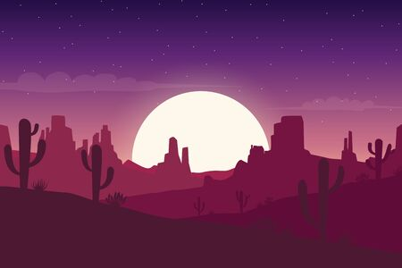 Desert landscape at night with cactus and hills silhouettes background - Vector illustration  イラスト・ベクター素材