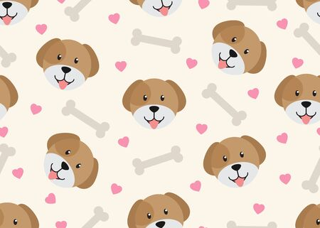Seamless pattern of cute face dog with dog bone and heart shape background - Vector illustration