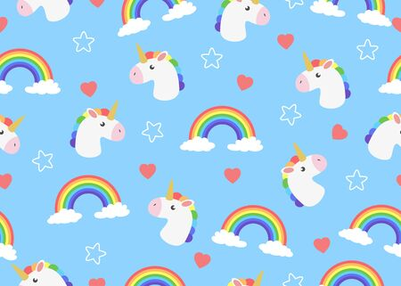 Seamless pattern of cute face cartoon unicorn with clouds and rainbow  background - Vector illustration. Ilustração