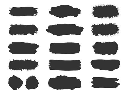 Collection of grunge brush stroke vector set isolated on white background. Иллюстрация