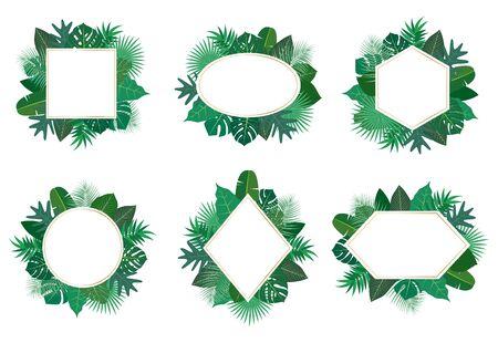 Collection of exotic botanical design tropical leaves frame vector set on white background - Vector illustration