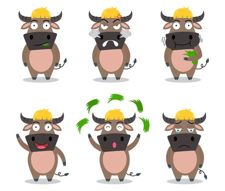 Cute buffalo cartoon vector set in different emotion isolated on white background - Vector illustration