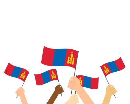 Vector illustration of hands holding Mongolia flags on white background