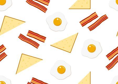 Seamless pattern of breakfast menu set on white background - vector illustration