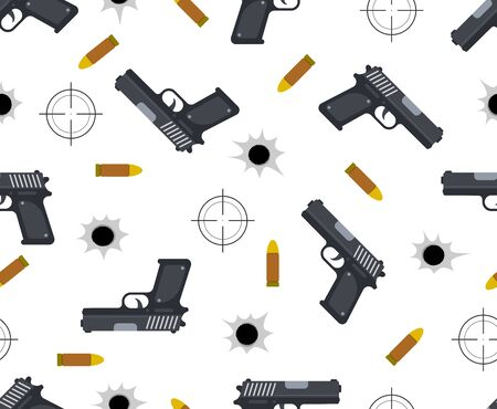 Seamless pattern of gun with bullet and bullet holes on white background - Vector illustration Illustration