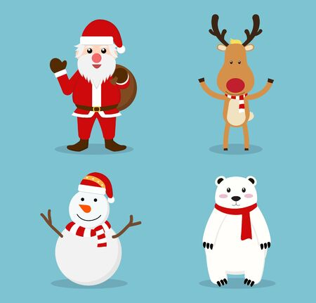 Christmas cute cartoon characters icon set - Vector illustration