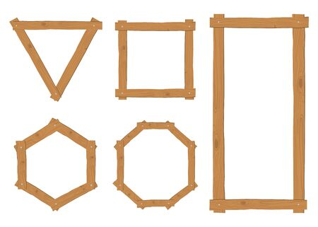 Collection of wooden border frame vector set on white background Stock Illustratie